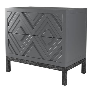 Susana Side Table - Cheating Heart Charcoal, Black Cerused Oak For Sale