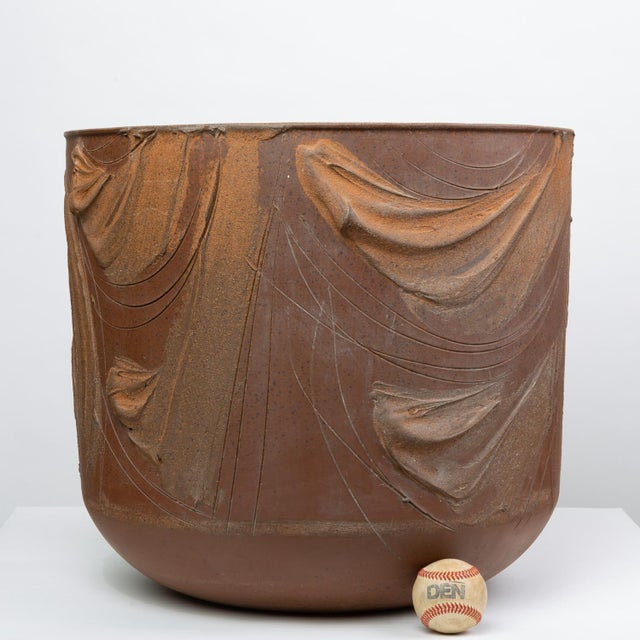 An unfinished, partially-glazed bowl planter designed by David Cressey for Architectural Pottery's 1960s Pro/Artisan...