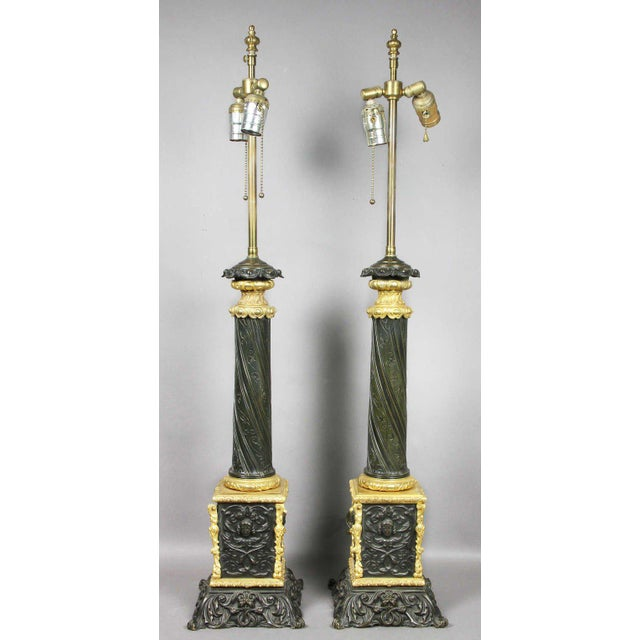 Pair Of Napoleon III Bronze And Ormolu Table Lamps For Sale - Image 5 of 5