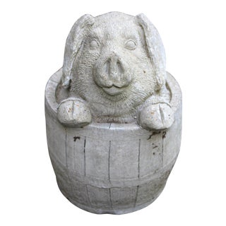 English Cast Stone Garden Pig in a Barrel For Sale