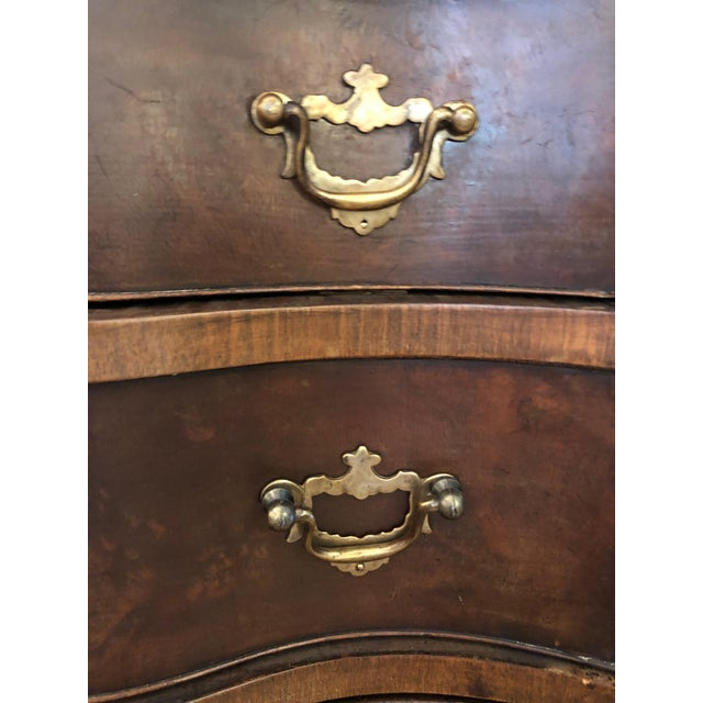 Brown Antique Serpentine Mahogany French Chest of Drawers For Sale - Image 8 of 13