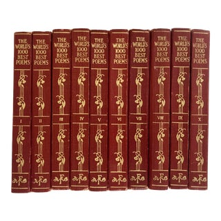 "1929 ""The World's 1000 Best Poems"" Red Leather Book Set of 10 For Sale"