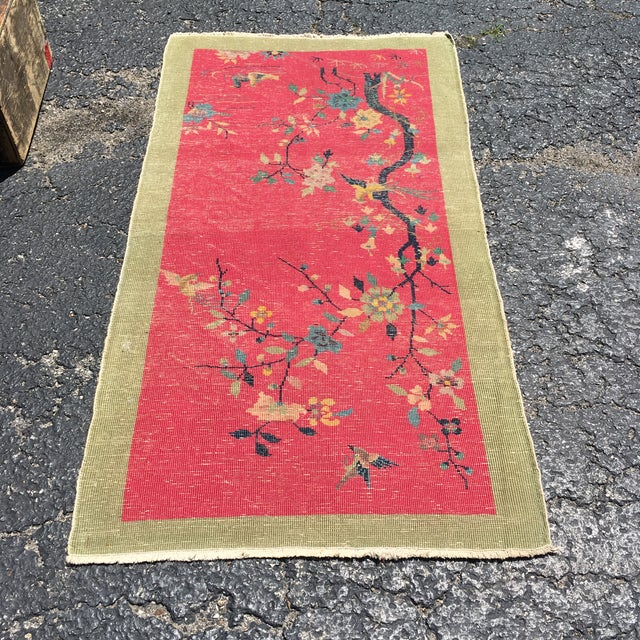 Chinese Art Deco Nichols Red and Green Rug - 2′11″ × 4′11″ For Sale - Image 10 of 12