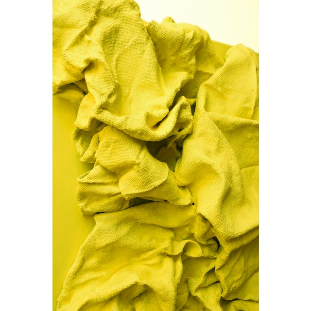 "Chloe Hedden ""Lemon Yellow Folds"" Mixed Media Wall Sculpture by Chloe Hedden For Sale - Image 4 of 5"