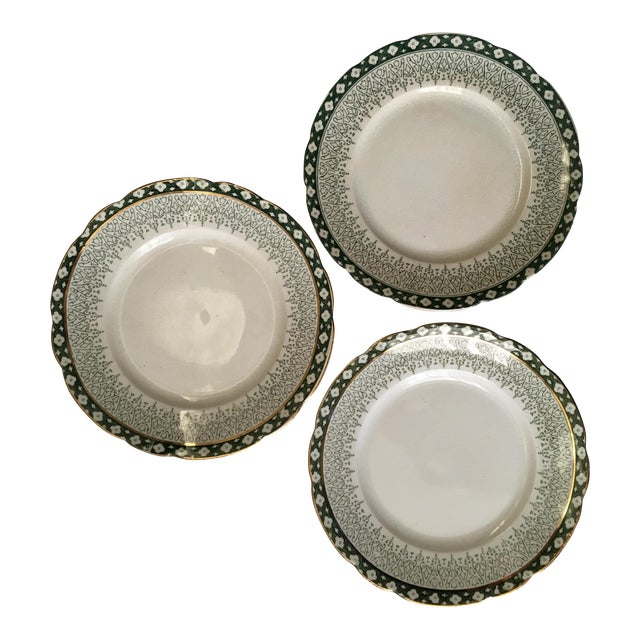 Scallop Edged Green & Gold Plates- Set of 3 For Sale