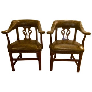 Faux Tortoise Leather Arm Chairs - Pair For Sale