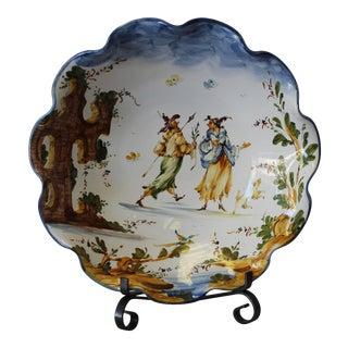 Vintage Ernan Italian Ceramic Scalloped Bowl For Sale