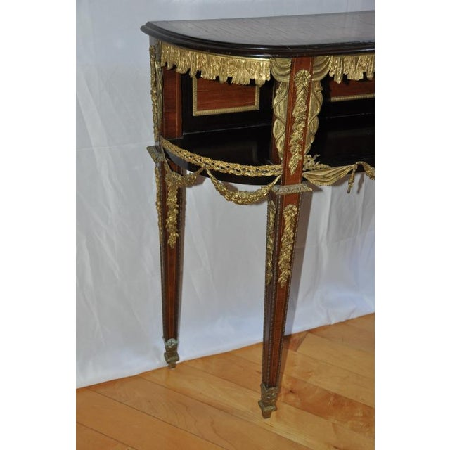 Metal Antique Louis XVI Style Console After Design by Jean-Henri Riesener For Sale - Image 7 of 13