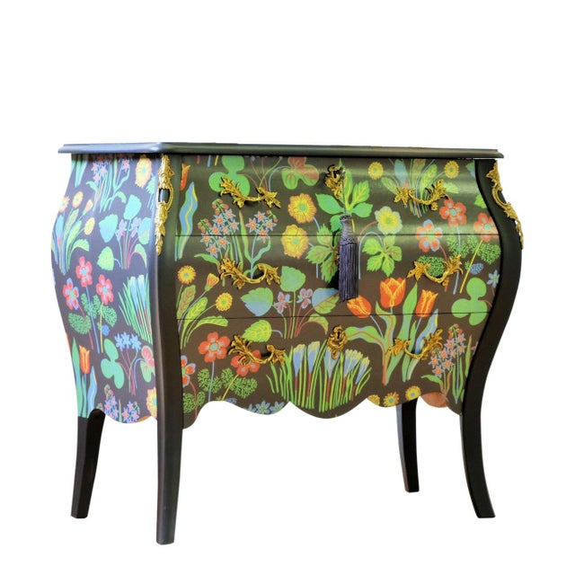 Antique Rococo Bureau renovated to top condition with Josef Frank's classic pattern 'Spring Bells' over the front drawers...