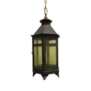 Iron & Glass Arts & Crafts Hanging Lantern For Sale