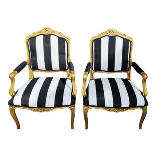 1990s Vintage Louis XV French Side Chairs Black White Stripe and Gold - a Pair For Sale
