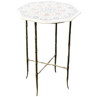 Faux Bamboo Brass Leg Side Table With Pietra Dura Top