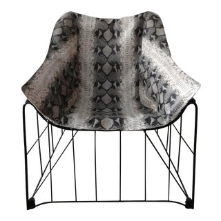 Python Embossed Leather Chair in the Style of Eames For Sale