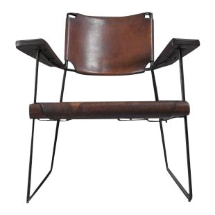 Rare Studio Furniture Chair with Heavy Saddle Leather, American, 1950s For Sale