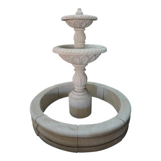 Hand Carved Tiered Central Fountain For Sale
