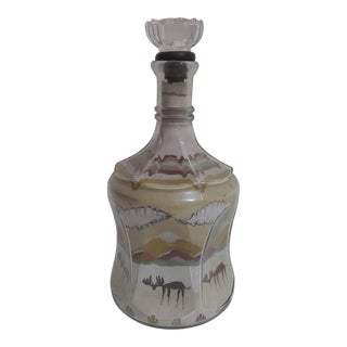 Vintage Sand Art in Hazel Atlas Antique Decanter For Sale