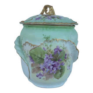 Antique Floral Biscuit Jar For Sale