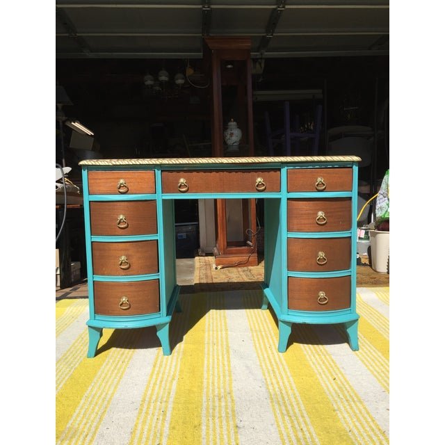 Shabby Chic 20th Century Traditional Duncan Phyfe Partner Desk For Sale - Image 3 of 10
