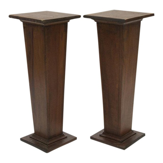 EARLY 1900'S HAND CARVED WOODEN PEDESTALS For Sale