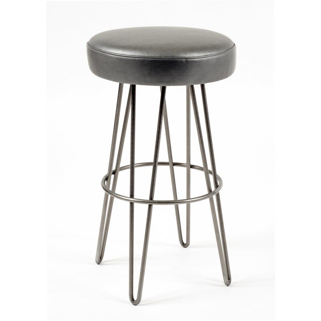 Modern Charcoal Leather Hairpin Swivel Barstool For Sale - Image 3 of 3