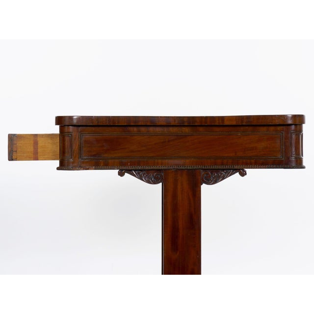19th Century English George IV Antique Writing Table Desk W/ Leather Top For Sale - Image 10 of 13