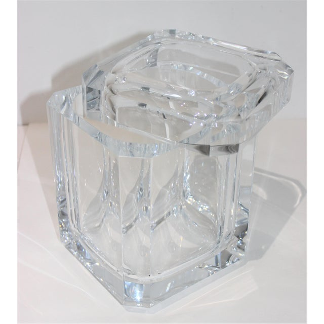 Vintage Lucite Ice Bucket With Cantilevered Lid For Sale - Image 11 of 11