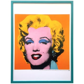 "Andy Warhol Foundation Rare Vintage 1998 Iconic Lithograph Print Framed Pop Art Poster "" Orange Marilyn "" 1964 For Sale"