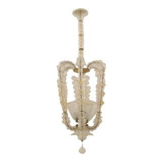 Italian Art Deco (Circa 1935) Clear Glass Lantern Form Chandelier