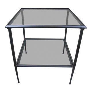 Contemporary Metal Frame Two-Tiered Glass Top Side Table For Sale