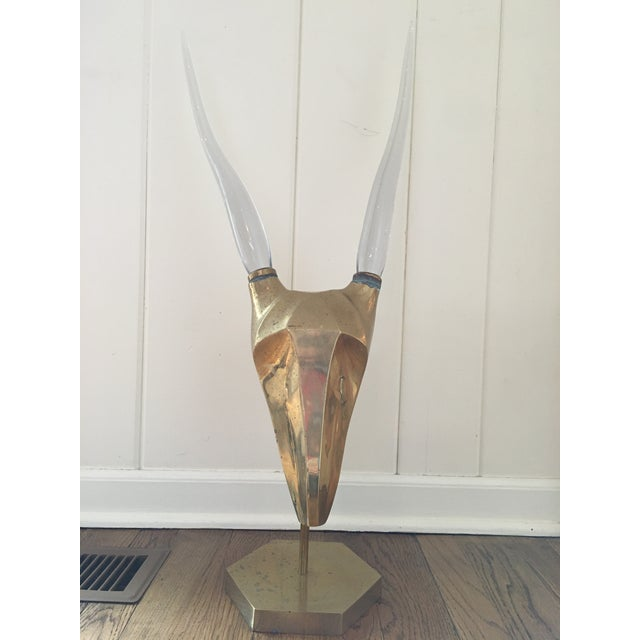 Brass and Glass Horned Antelope Sculpture For Sale - Image 9 of 9