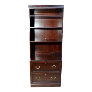 Hekman Solid Mahogany Locking File Cabinet Credenza & Book Hutch For Sale