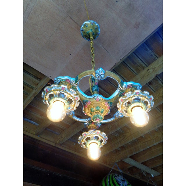 Antique Small Green and Blue Art Deco Chandelier - Image 7 of 9