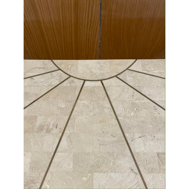 Maitland Smith Tessellated Travertine Demilune Table With Brass Inlay For Sale In Los Angeles - Image 6 of 13
