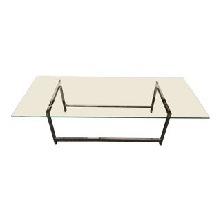 Mid-Century Modern Glass Top / Chrome Base Coffee Table For Sale