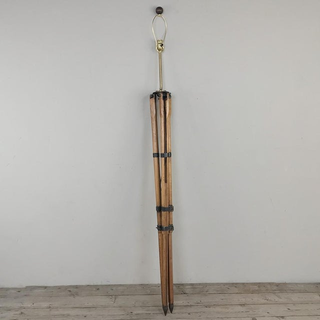 Textile Antique French Surveyors Floor Lamp For Sale - Image 7 of 13