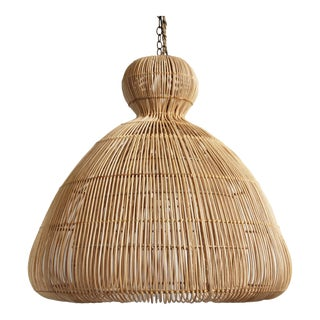 Rattan Mushroom Lantern Medium For Sale