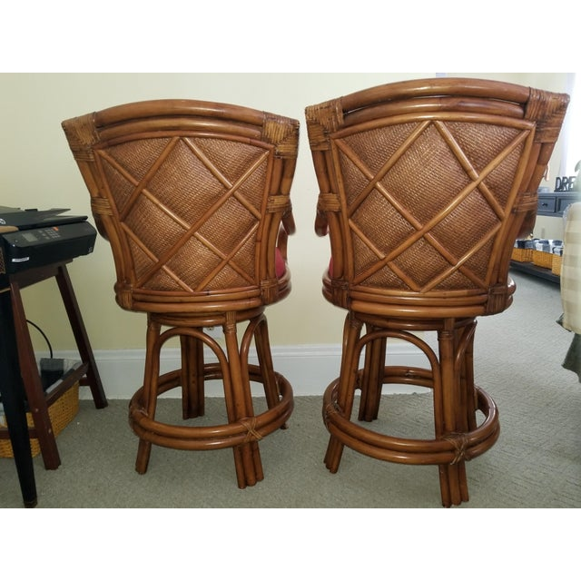 Rattan Bamboo Leather Swivel Bar Stools - a Pair For Sale - Image 4 of 13
