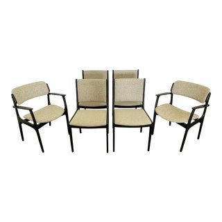 Set of 6 Ebonized Dining Chairs by Erik Buch For Sale