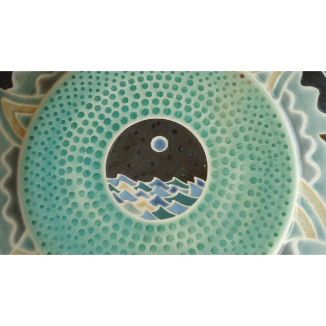 Contemporary Organic Modern Moon Over Seascape Studio Green Pottery Platter For Sale - Image 3 of 6
