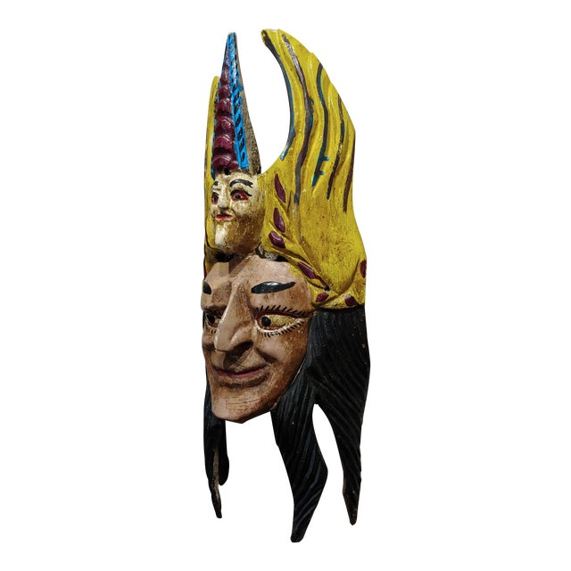 Mexican Mask -Antique Painted Wood Carved For Sale