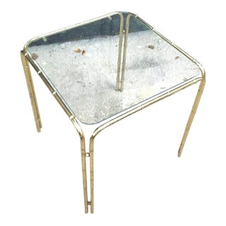 1970s Chinoiserie Brass Bamboo Glass-Top Table For Sale