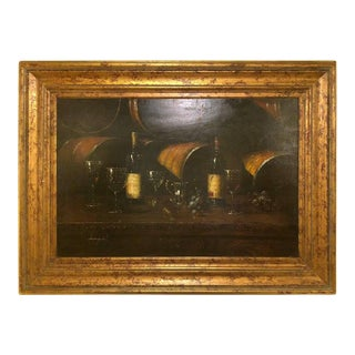 Bartolome Luzanquis Oil on Canvas Still Life of Wine Bottles With Glasses For Sale