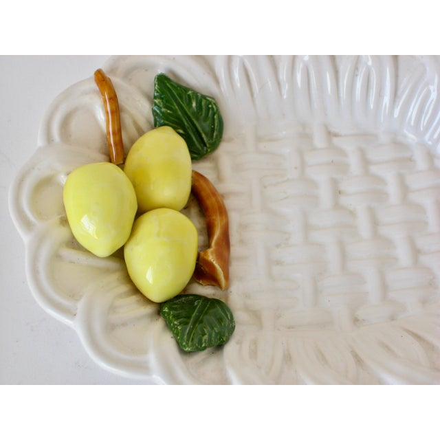 Small ceramic lemon dish. Braided design with brightly glazed lemons and leaves. By Andrea by Sadek, Portugal.