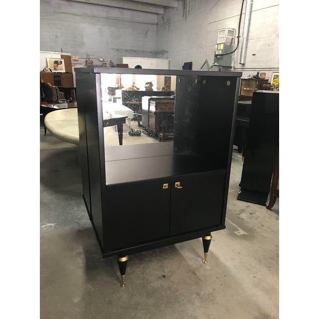 1940s 1940's French Art Deco Ebonized Dry Bar Cabinet For Sale - Image 5 of 13