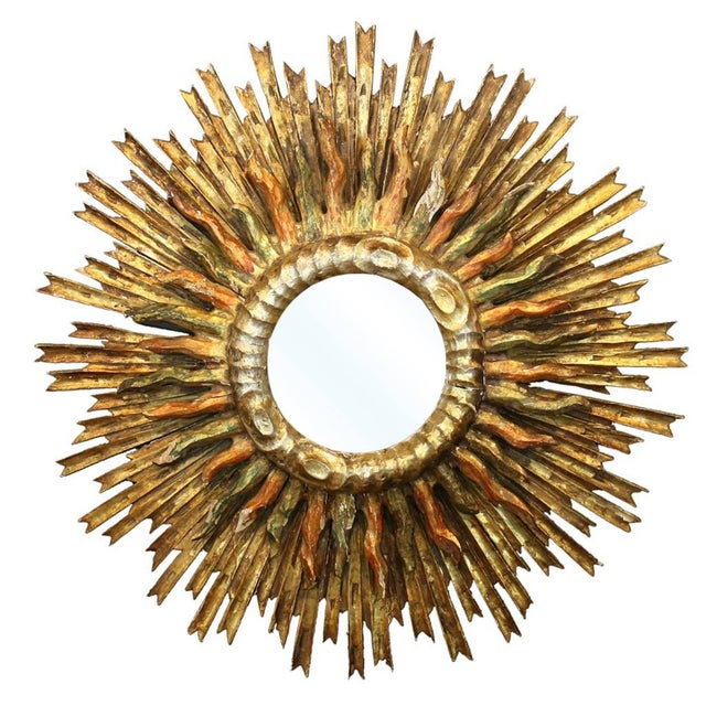 Italian 1890s Giltwood Double Sunburst Mirror with Red and Green Painted Accents For Sale - Image 9 of 9