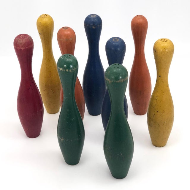 Early 20th Century Vintage Painted Wooden Toy Bowling Pins - Set of 9 For Sale - Image 11 of 11