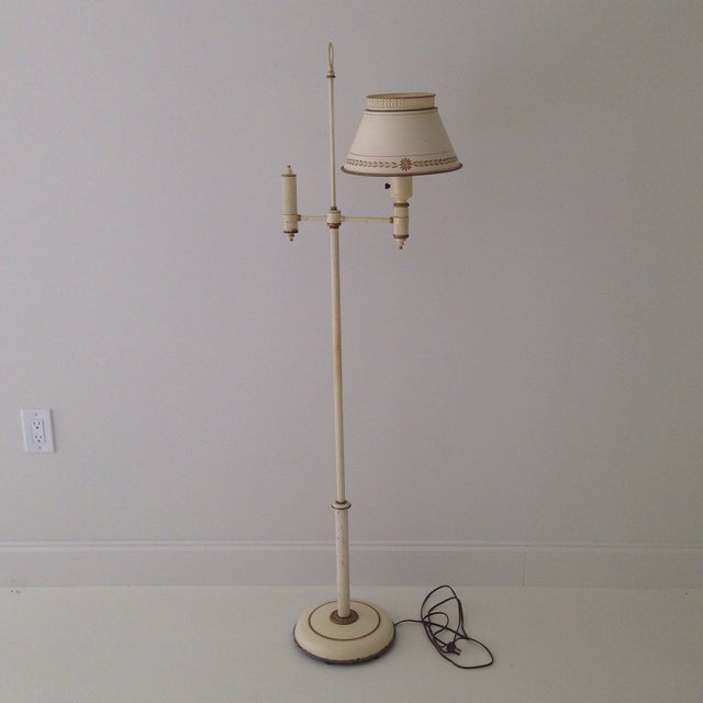 Off-White Tole Floor Lamp - Image 2 of 11