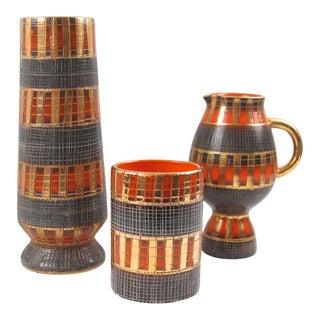 Bitossi by Fratelli Fanciullacci 1950s Italian Sgrafitto Pottery Vase - 3 Pieces For Sale