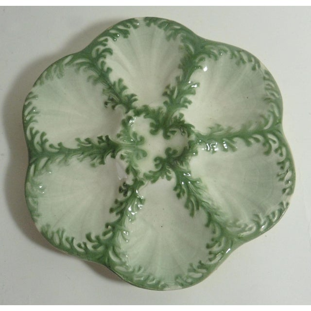 Late 19th Century Vintage Keller Et Guerin Saint Clement Majolica Seaweeds Oyster Plate For Sale - Image 4 of 7
