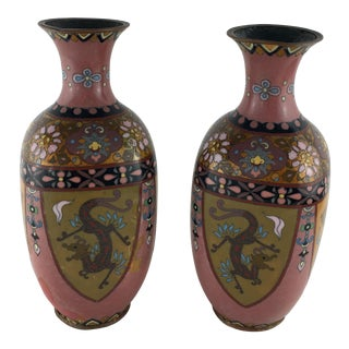 Mid 20th Century Hand-Painted French Art Deco Vases Cloisonné, Circa 1920s - a Pair For Sale